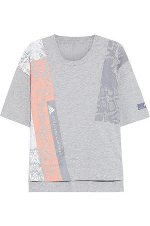 adidas Woman Digi Stretch Jacquard-paneled Printed Organic Cotton-jersey T-shirt Size M