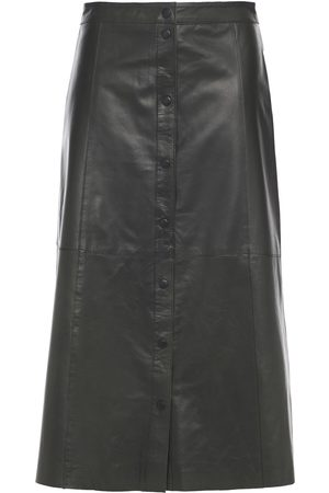 Muubaa Woman Popper Textured-leather Midi Skirt Dark Size 10