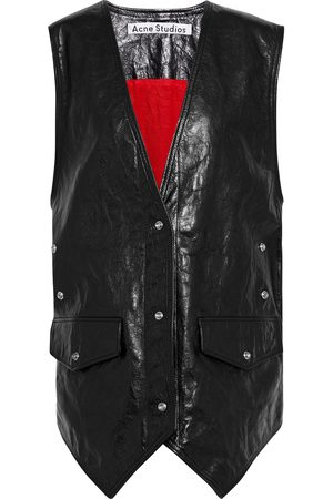 Acne Studios Woman Carletta Oversized Snap-detailed Crinkled-leather Vest Size 34