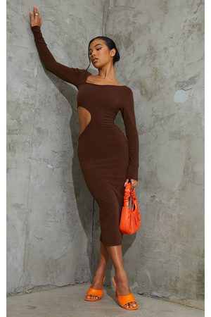 PRETTYLITTLETHING Chocolate Ribbed Long Sleeve Cut Out Midaxi Dress