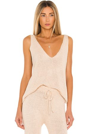 SNDYS Lounge Celeste Knit Tank in Nude.