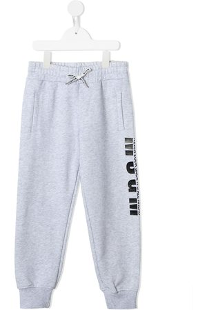 Msgm Boys Sweatpants - Logo print track pants - Grey