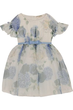 MONNALISA Floral tulle belted dress