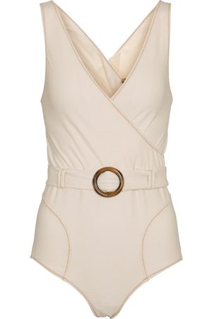 Lisa Marie Fernandez Yasmin belted stretch-cotton swimsuit