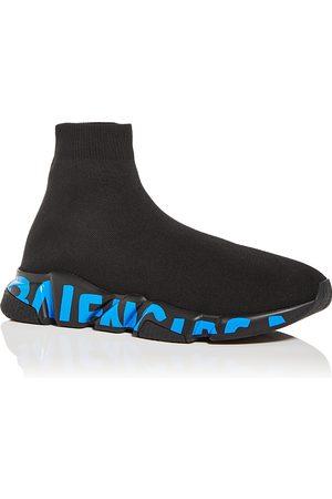 Balenciaga Men's Speed Graffiti Knit High Top Sneakers