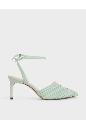 CHARLES & KEITH Pleated Ankle-Tie Stiletto Pumps