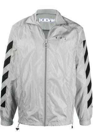 OFF-WHITE Logo-print zip-up track jacket - Grey
