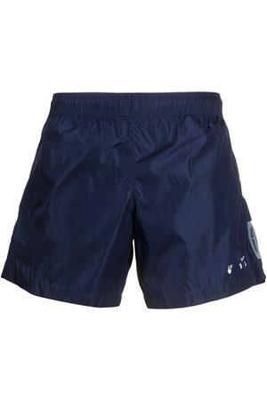 OFF-WHITE Logo-print crinkled swim shorts
