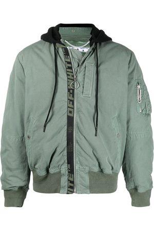 OFF-WHITE Logo-print ruched bomber jacket