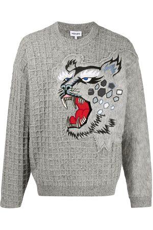 Kenzo Embroidered tiger grid jumper - Grey