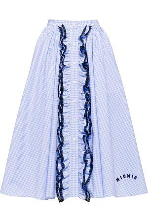 Miu Miu Women Printed Skirts - Gingham-print midi skirt
