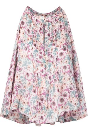 Isabel Marant Floral-print sleeveless draped blouse - Neutrals
