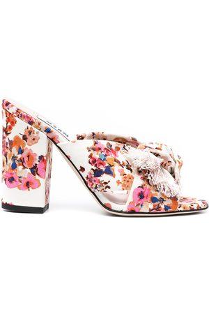 Msgm Floral-print mule sandals - Neutrals