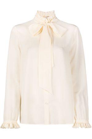 Saint Laurent Women Blouses - Pleated collar pussy-bow blouse