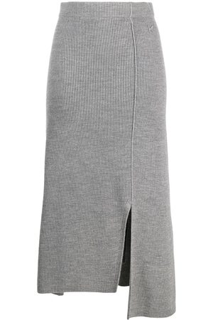 Kenzo Women Asymmetrical Skirts - Asymmetric knitted skirt - Grey