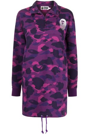 A BATHING APE® Women Printed Dresses - Camouflage-print sweatshirt dress