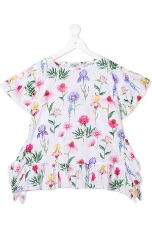 MONNALISA Girls Blouses - Floral-print short-sleeved blouse