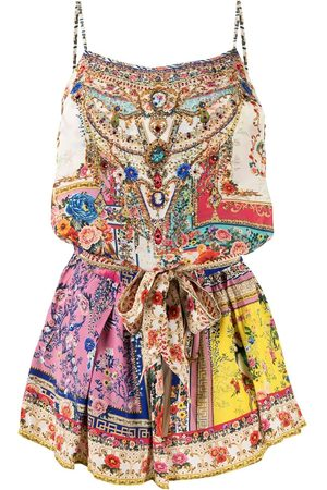 Camilla Floral-baroque print silk playsuit - Multicolour