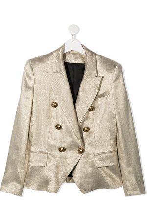Balmain TEEN metallic-print double-breasted blazer
