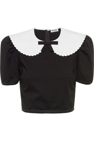 Miu Miu Women Blouses - Scalloped-collar cropped blouse