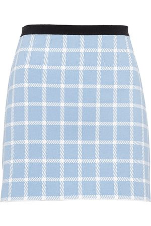 Miu Miu Windowpane-pattern viscose miniskirt