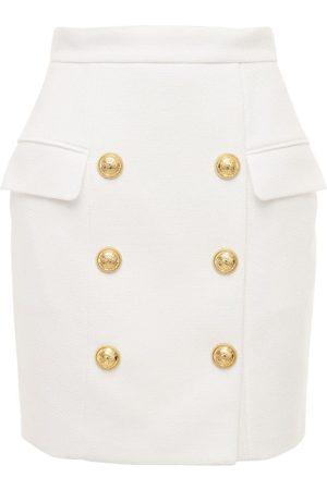 Balmain Cotton Piqué Mini Skirt W/ Buttons