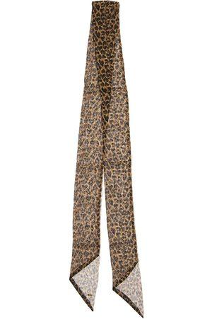 Saint Laurent Leopard Print Silk Muslin Scarf