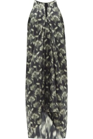 PETAR PETROV Women Printed Dresses - Aspen Fog Floral-print Silk Maxi Dress - Womens