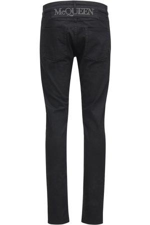 Alexander McQueen Logo Studs Stretch Cotton Denim Jeans