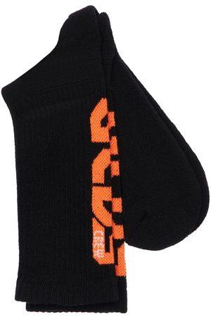 GCDS Girls Socks - Logo Intarsia Cotton Rib Knit Socks