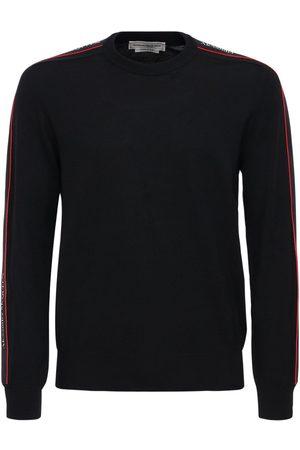 Alexander McQueen Logo Tape Wool Knit Sweater
