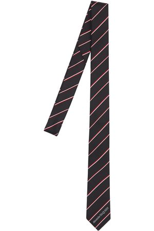 Alexander McQueen 50mm Logo Striped Silk Tie
