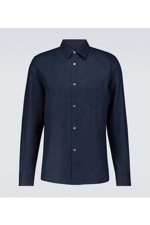 DEREK ROSE Monaco 2 long-sleeved linen shirt