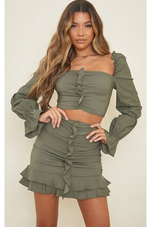 PRETTYLITTLETHING Khaki Woven Stretch Frill Ruched Front Long Sleeve Crop Top