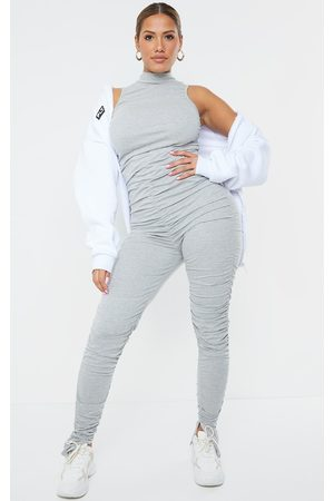 PRETTYLITTLETHING Shape Grey Cotton Sleeveless Ruched Leg Jumpsuit