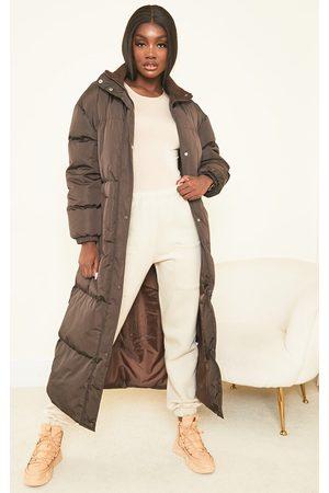 PRETTYLITTLETHING Women Puffer Jackets - Tall Chocolate Maxi Puffer Coat