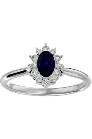 SuperJeweler 3/4 Carat Oval Shape Sapphire & Halo 12 Diamond Ring in 14K (2.80 g)