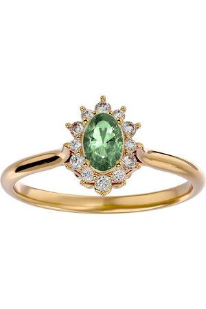 SuperJeweler Women Rings - 2/3 Carat Oval Shape Green Amethyst & Halo 12 Diamond Ring in 14K (2.80 g)