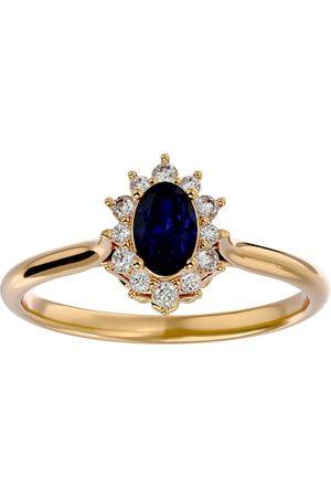 SuperJeweler Women Rings - 3/4 Carat Oval Shape Sapphire & Halo 12 Diamond Ring in 14K (2.80 g)