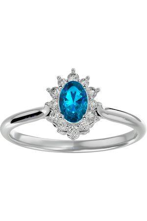 SuperJeweler 2/3 Carat Oval Shape Blue Topaz & Halo 12 Diamond Ring in 14K (2.80 g)