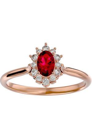 SuperJeweler Women Rings - 2/3 Carat Oval Shape Ruby & Halo 12 Diamond Ring in 14K (2.80 g)