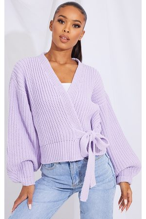 PRETTYLITTLETHING Lilac Chunky Tie Waist Belted Cardigan
