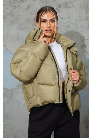 PRETTYLITTLETHING Khaki Nylon Oversized Curved Panel Wadded Puffer Jacket