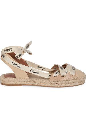 Chloé Women's Lauren Lace-Up Canvas Espadrille Sandals - Soft Tan - Size 11