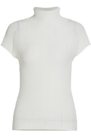 Issey Miyake Women's Wooly Pleats Short-Sleeve Mockneck Top - - Size 2