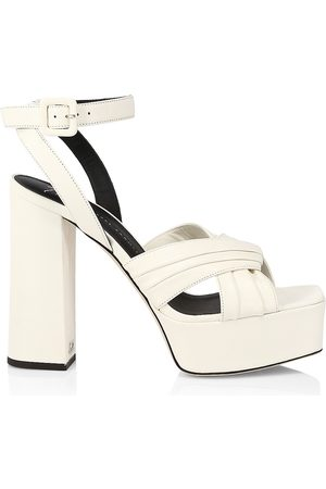 Giuseppe Zanotti Women's Vegas Pleated Leather Platform Sandals - - Size 8.5