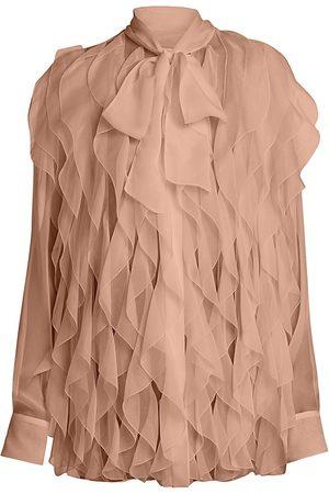 VALENTINO Women Blouses - Women's Chiffon Silk Ruffle Blouse - Skin - Size 6