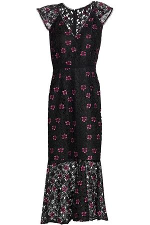 Ml Monique Lhuillier Floral Lace Illusion Flutter-Sleeve Midi Dress