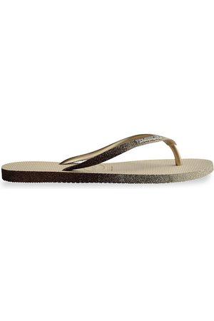 Havaianas Women Flip Flops - Women's Slim Sparkle Flip Flops - Sand Grey - Size 5