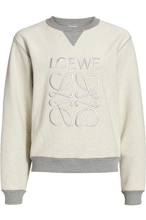 Loewe Women Sweatshirts - Women's Anagram Embroidered Sweatshirt - Grey Melange - Size Large